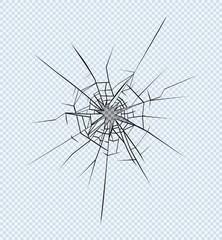 Broken glass effect. Hole in the broken glass .Vector illustration.