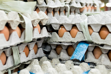 A lot of egg in panel display for sale in local fresh food market, tropical Bali island, Indonesia.