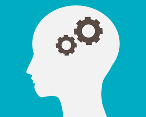 Head with gears in brain vector.