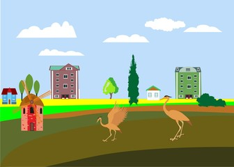 Flat vector illustration of urban countryside