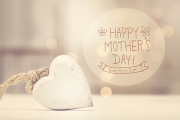 Mother's Day message with a white heart