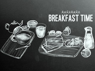 hand-drawn breakfast collection on chalkboard.