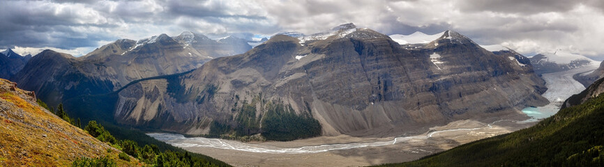 Dramatic panoramic View at Saskatchewan Glacier, Rockies, Canada
