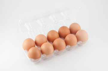 eggs in plastic box on white background