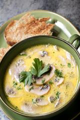 Mushroom Soup with Toast