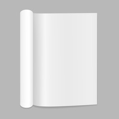 Blank open magazine mockup with rolled page