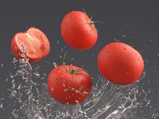 tomatoes and water splash