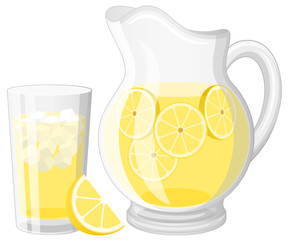 Vector illustration of a glass and a pitcher of lemonade.