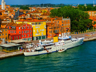 Beautiful view from Grand Canal on colorful facades of old medieval houses in Venice