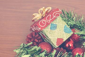 Christmas gift box & red christmas ball