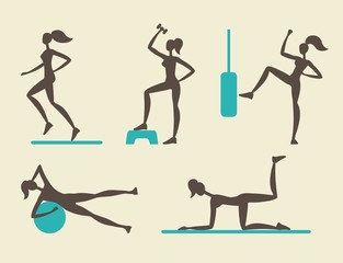 Collection of female fitness silhouettes