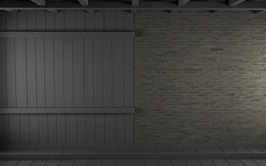 Vintage Brick & Wood Wall - Empty Room