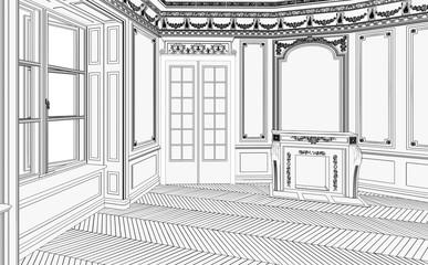 Salon im Jugendstil leer (Zeichnung)