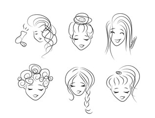 A set of sketches of girls putting hair in a hairdo