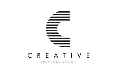C Zebra Letter Logo Design with Black and White Stripes