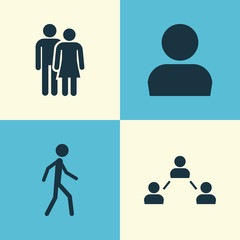 Human Icons Set. Collection Of Jogging, Beloveds, User And Other Elements. Also Includes Symbols Such As Relation, Network, Avatar.
