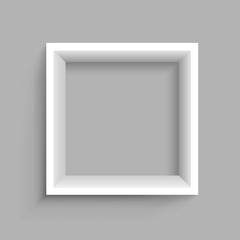 Square shelf gray background