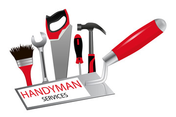 The concept of construction and repairs. The logo for professional handyman services. Trowel, saw, hammer, wrench, screwdriver and brush. Vector