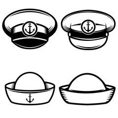 Set of the sailors hat. Design elements for logo, label, emblem, sign, poster, t-shirt. Vector illustration