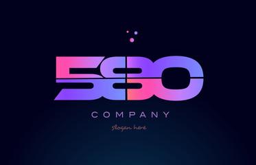 580 pink magenta purple number digit numeral logo icon vector
