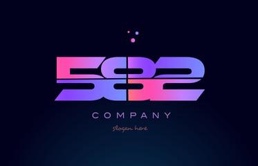 582 pink magenta purple number digit numeral logo icon vector