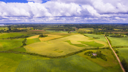 Drone flight over the farmland