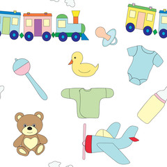 Seamless pattern with a set of children's objects. Toys and clothes for the child. Vector picture.