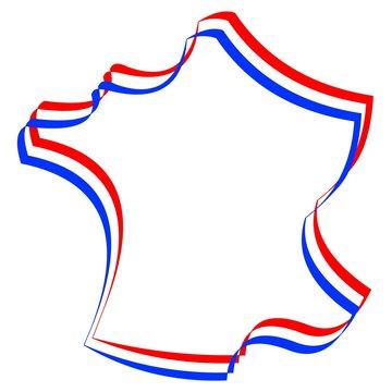 Carte France contour tricolore vecteur
