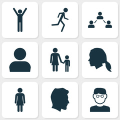 Person Icons Set. Collection Of Gentlewoman Head, Male, Scientist And Other Elements. Also Includes Symbols Such As Female, User, Social.