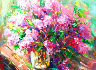 Flowers lilac, Oil Painting, Impressionism style, Still life art colored color image, wallpaper and backgrounds