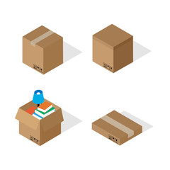 Boxes for moving in isometric style.