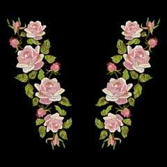 Roses embroidery with leaves and buds. Ethnic flowers neck line, flower design, graphics fashion wearing. Embroidery for t-shirt. Satin stitch imitation, vector.