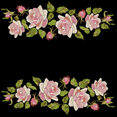 Roses embroidery with leaves and buds. Ethnic flowers design, graphics fashion wearing. Greeting card template with roses border. Satin stitch imitation, vector.
