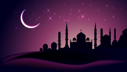 Eid Mubarak greeting card with mosque silhouette and crescent, vector illustration