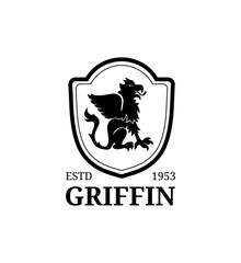 Vector griffin logo template. Luxury crest monogram. Graceful vintage animal symbol illustration used for hote card etc.