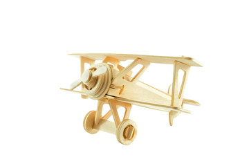 Wood airplane isolated on white background., This has clipping path