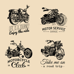 Vector motorcycles inspirational,advertising posters set.Hand sketched illustrations for MC labels.Detailed bikes logos.