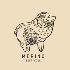 Merino sheep logo, label. Vector ram illustration. Ewe soft wool sign. Fleece icon background.