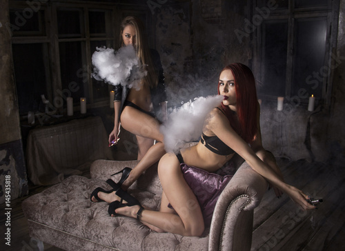 Sexy chicks smoking