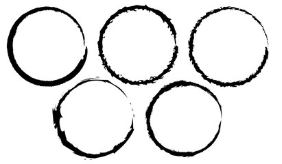 Grunge set of circles.Grunge black circles.Grunge oval frame.