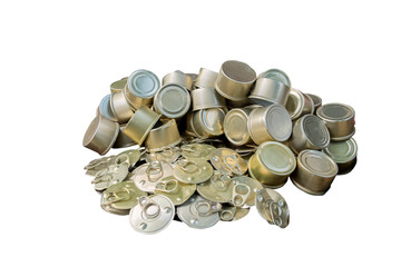 Old canned aluminum isolated on white background., This has clipping path.