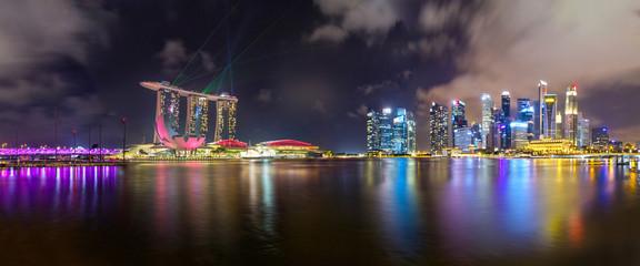 Singapur Skyline mit Lasershow