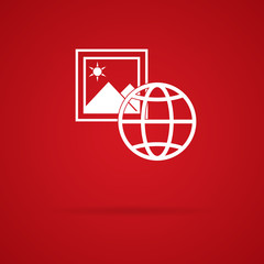 globe and picture icon, red background