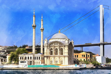 Colorful painting of Ortakoy Mosque