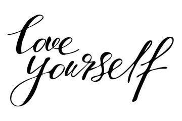 Love yourself.  Handwritten black text isolated on white background, vector. Each word is on the separate layer.