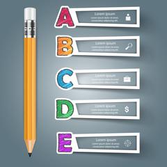 Business Alphabet Infographics. Pen icon.