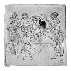 Medieval image of happy middle-class people drinking and eating together
