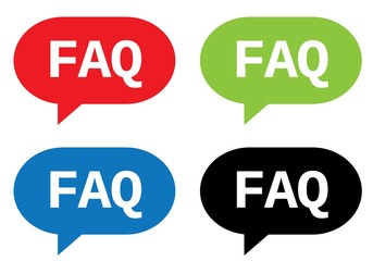 FAQ text, on rectangle speech bubble sign.