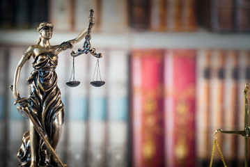 Law and Justice, books background. Scale