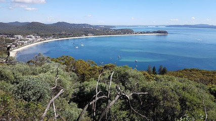 Shoal Bay vue du Mont Tomaree, New South Wales, Australie